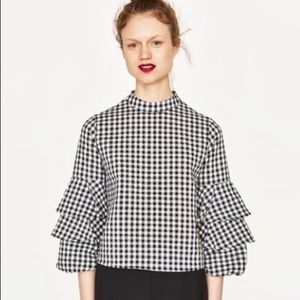 Zara Black White Gingham Layered Sleeve Top